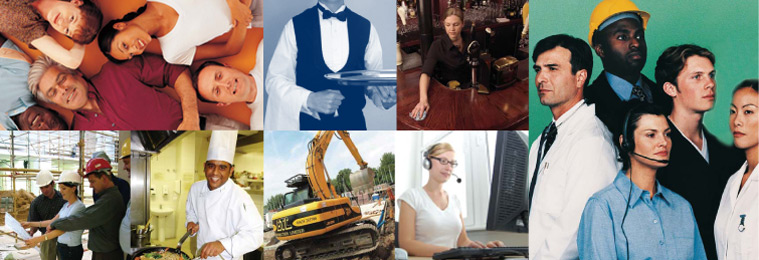 multiple images of people working